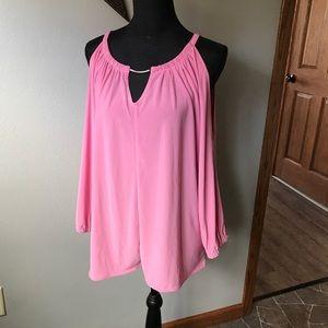 WHBM Pink cold shoulder back keyhole dressy top
